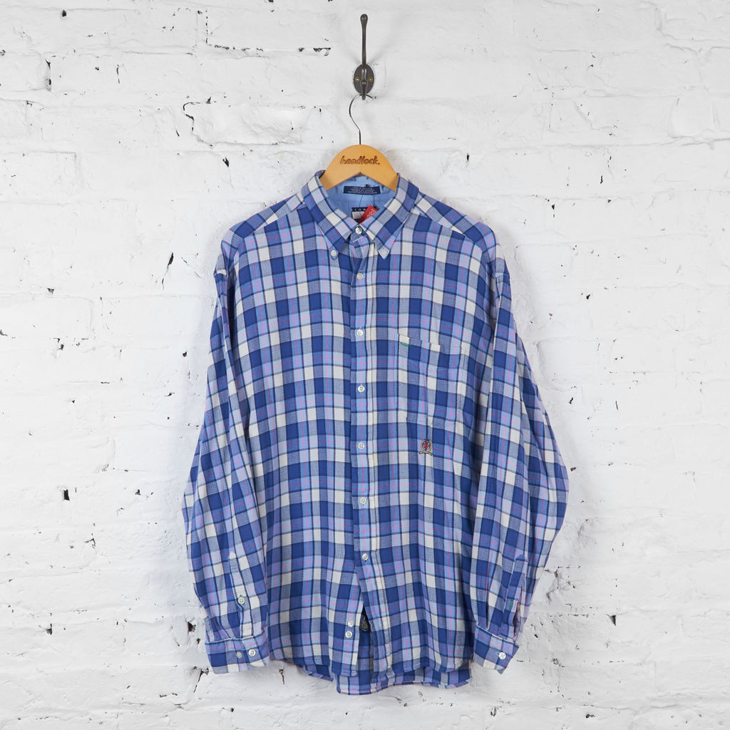 Vintage Checked Tommy Hilfiger Shirt - Blue/White/Pink - L - Headlock