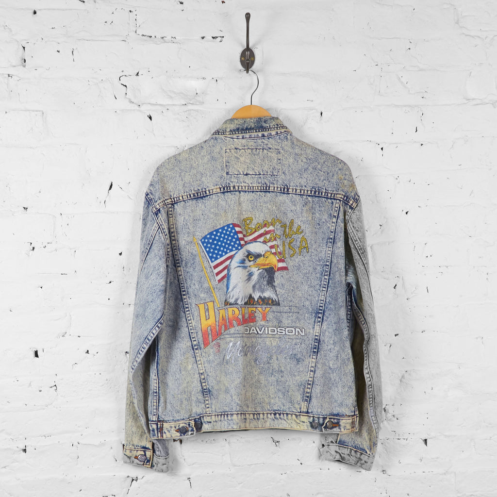 Vintage Harley Davidson Denim Jacket - Blue - M - Headlock