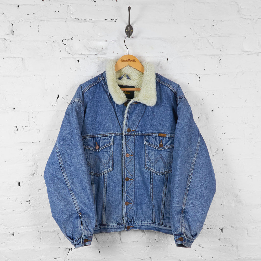 Vintage Wrangler Faux Fur Lined Denim Jacket - Blue - XL - Headlock