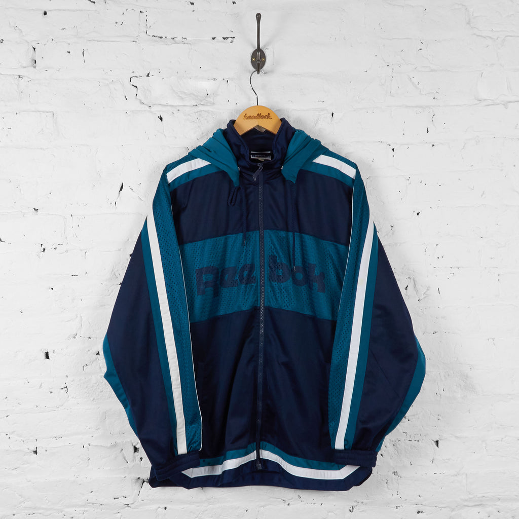Vintage Reebok Hooded Tracksuit Top - Blue/Navy - L - Headlock