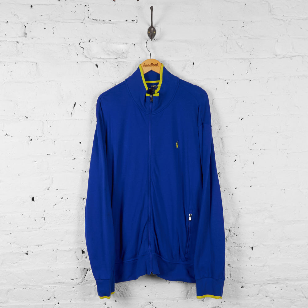 Vintage Ralph Lauren Polo Zip Up Tracksuit Top - Blue/Yellow - XXL - Headlock