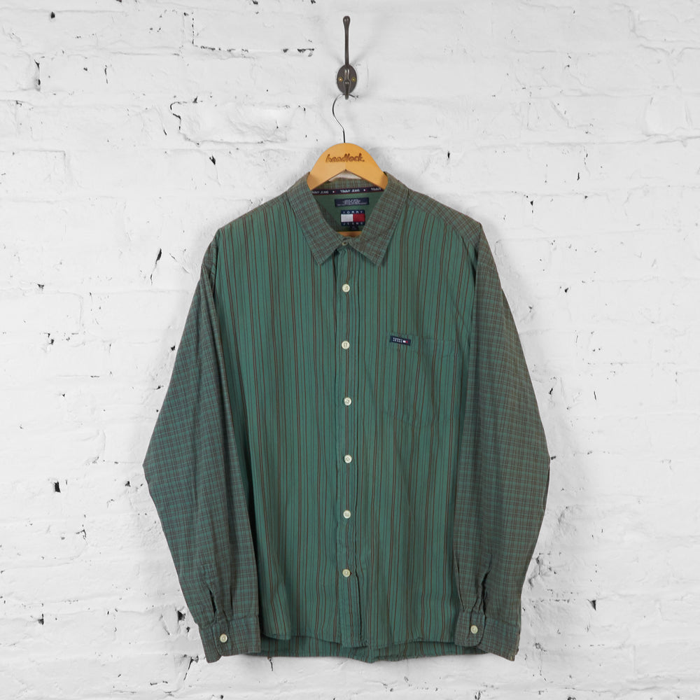Vintage Tommy Hilfiger Jeans Striped Shirt - Green/Red - XL - Headlock