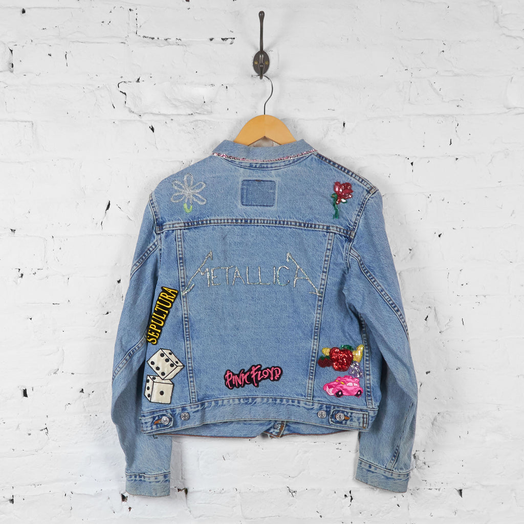 Vintage Levi's Customised Rock Band Patch And Glitter Jacket - Blue - M - Headlock