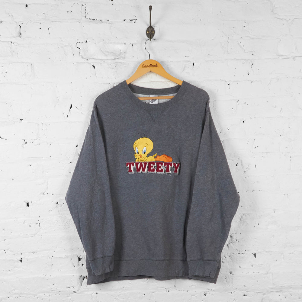 Vintage Warner Bros Tweety Bird Sweatshirt - Grey - XL - Headlock