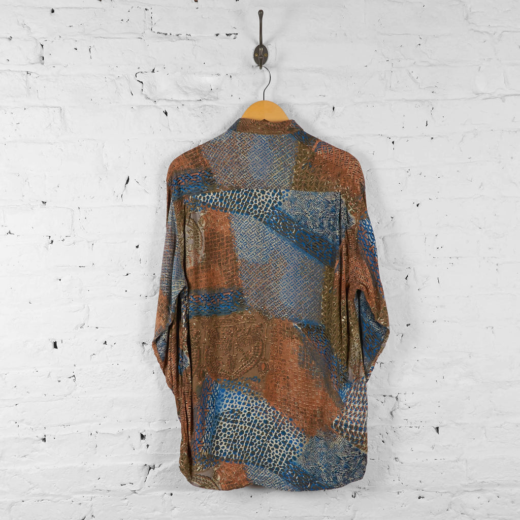 Vintage Pattern Shirt - Brown/Blue - M - Headlock