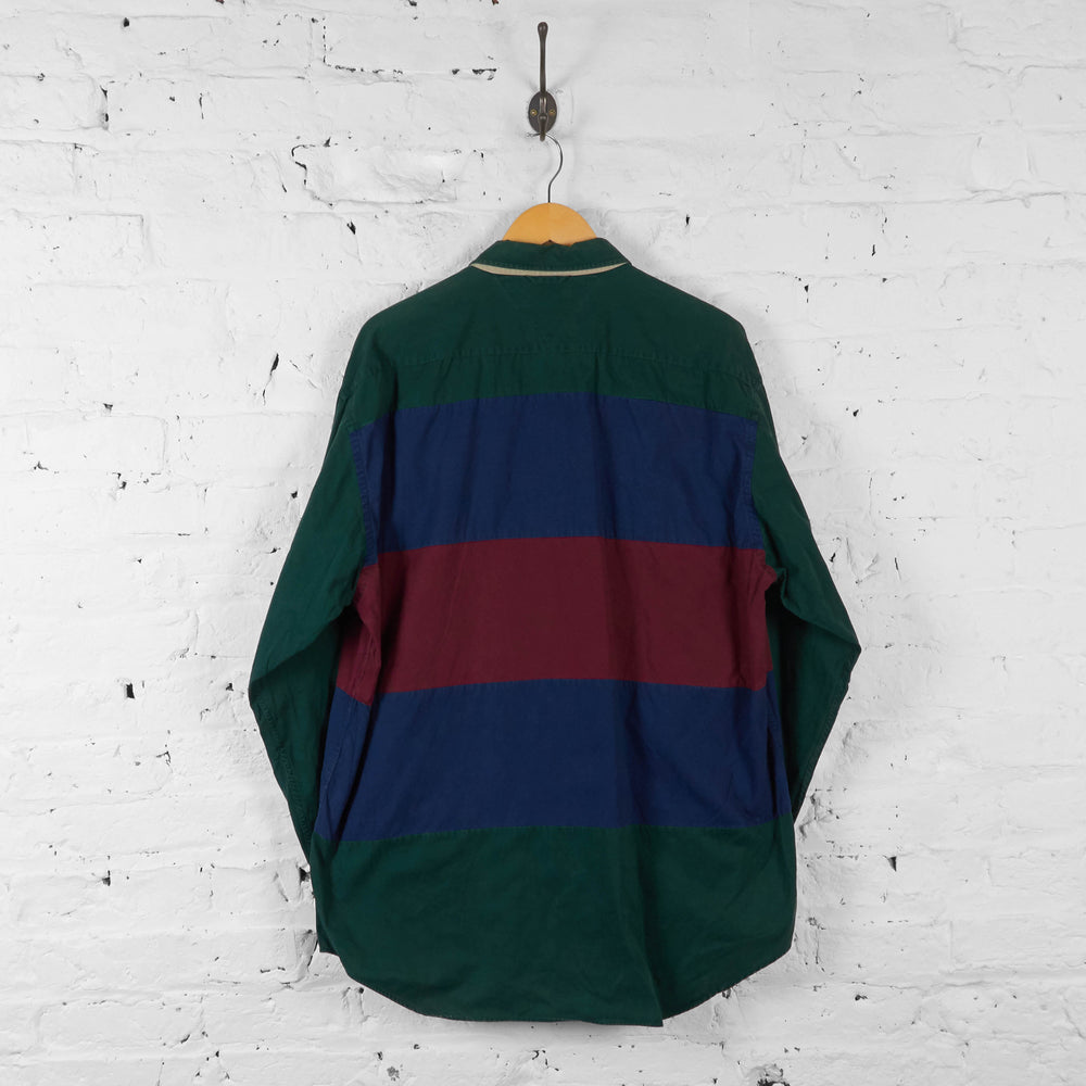 Vintage Tommy Hilfiger Striped Pattern Shirt - Green - XL - Headlock