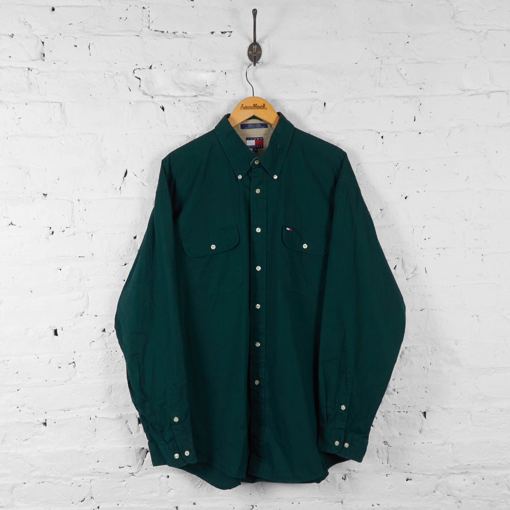Vintage Tommy Hilfiger Shirt - Green - XL - Headlock