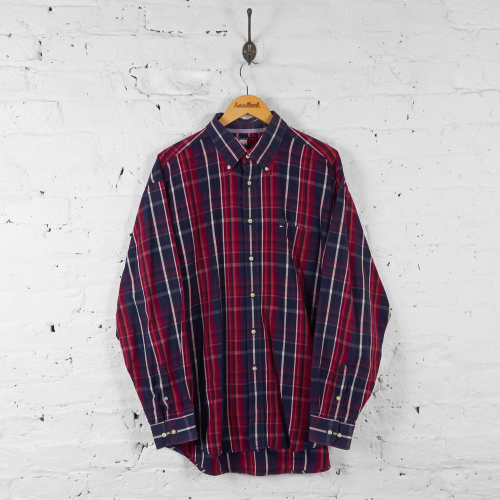 Vintage Tommy Hilfiger Checked Pattern Shirt - Red - XL - Headlock