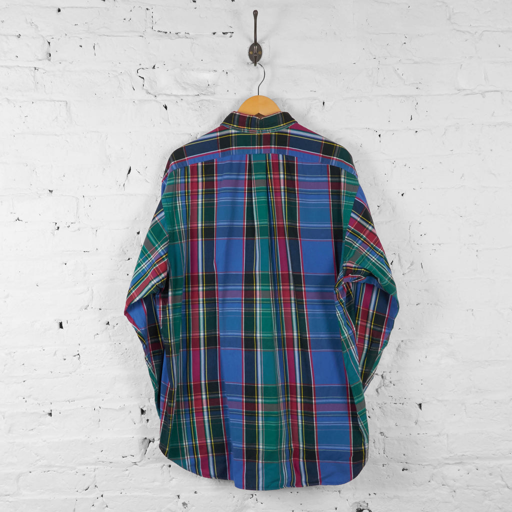 Vintage Ralph Lauren Checked Pattern Shirt - Blue - L - Headlock