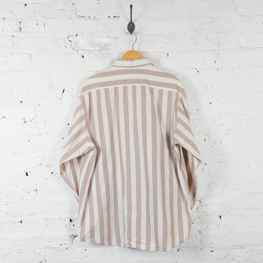 Vintage Dickies Striped Shirt - Beige/White - XL - Headlock