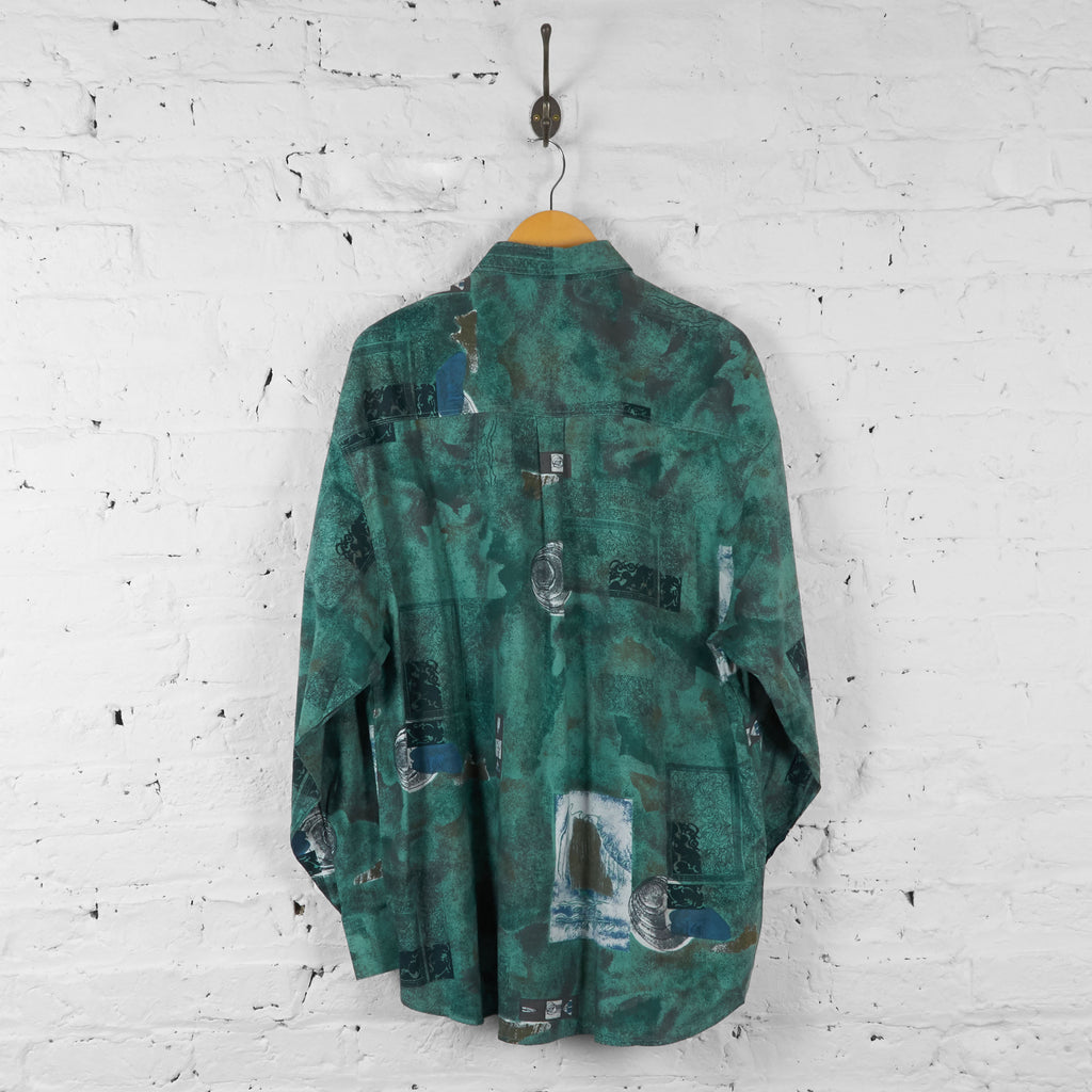 Vintage Square Pattern Shirt - Green - L - Headlock