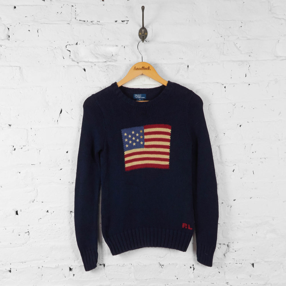 Vintage Women's Ralph Lauren American Flag Knitted Jumper - Navy - S - Headlock