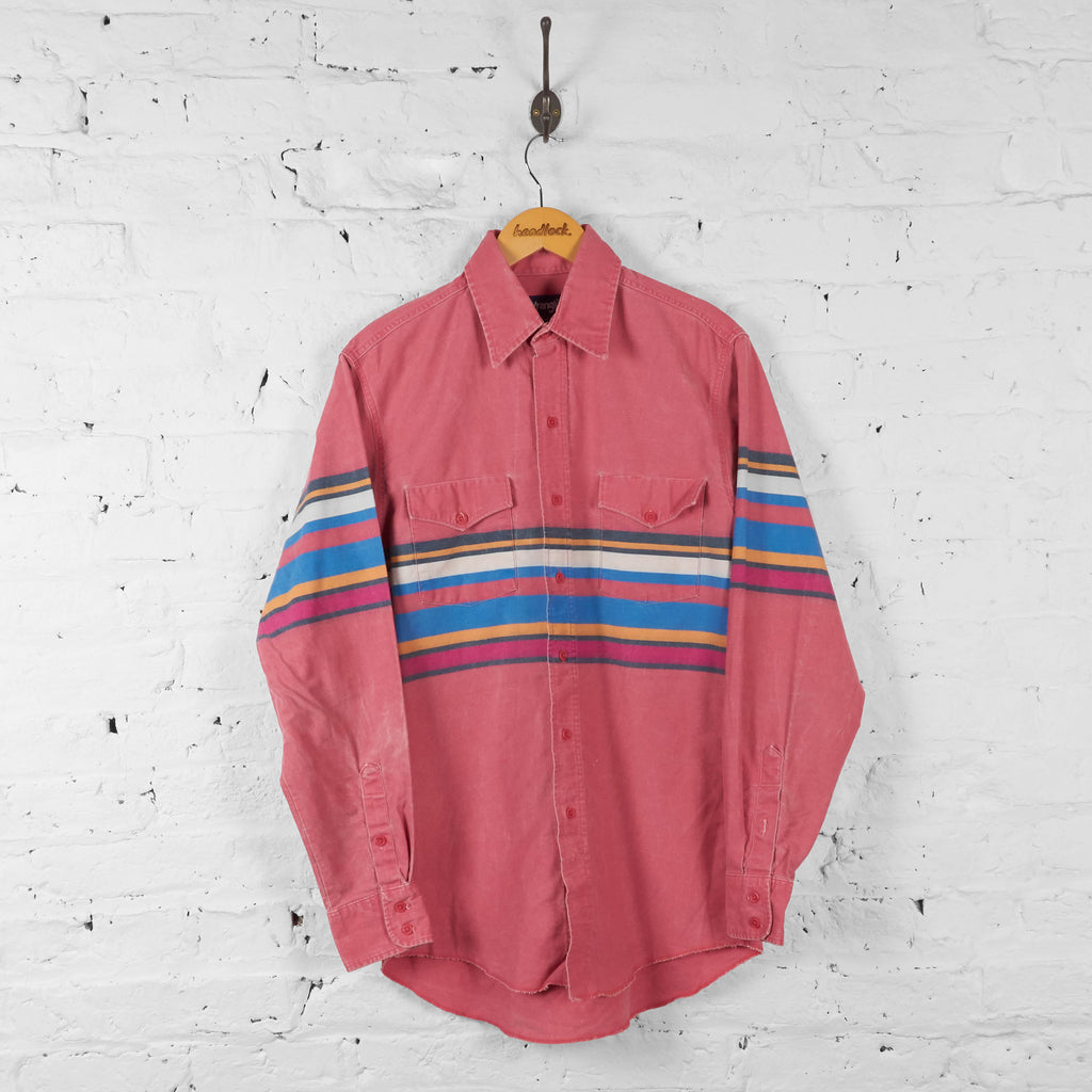 Vintage Wrangler Striped Pattern Shirt - Pink - S - Headlock