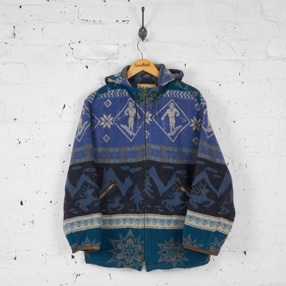 Womens Patterned Aztec Coat - Blue - Womens S - Headlock