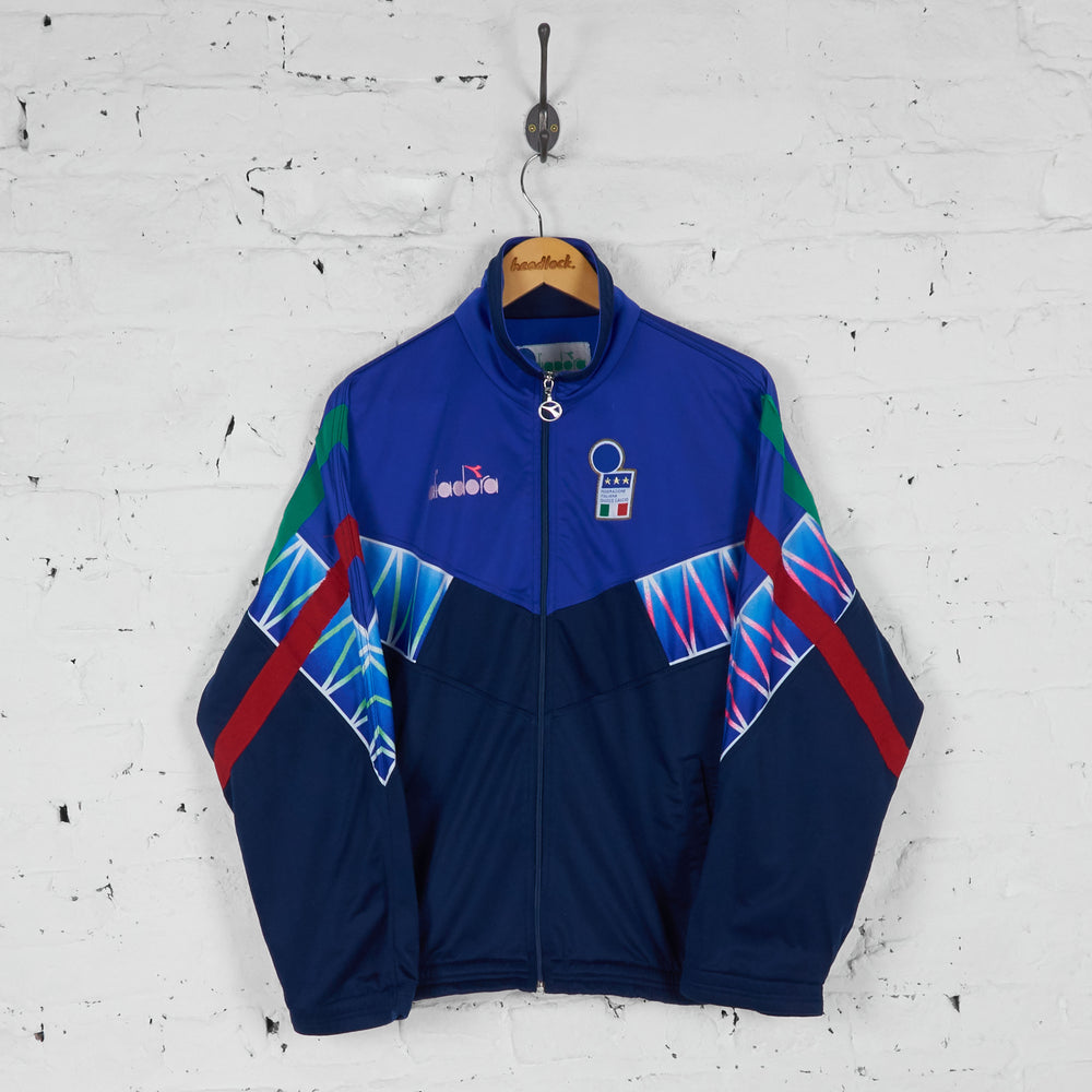 Italy 1994 Diadora Football Tracksuit Top Jacket - Blue - M