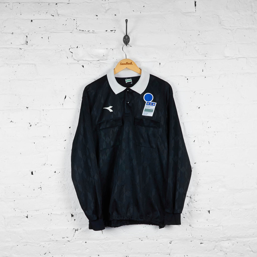 Vintage Diadora Italian Football Referee Shirt - Black - L