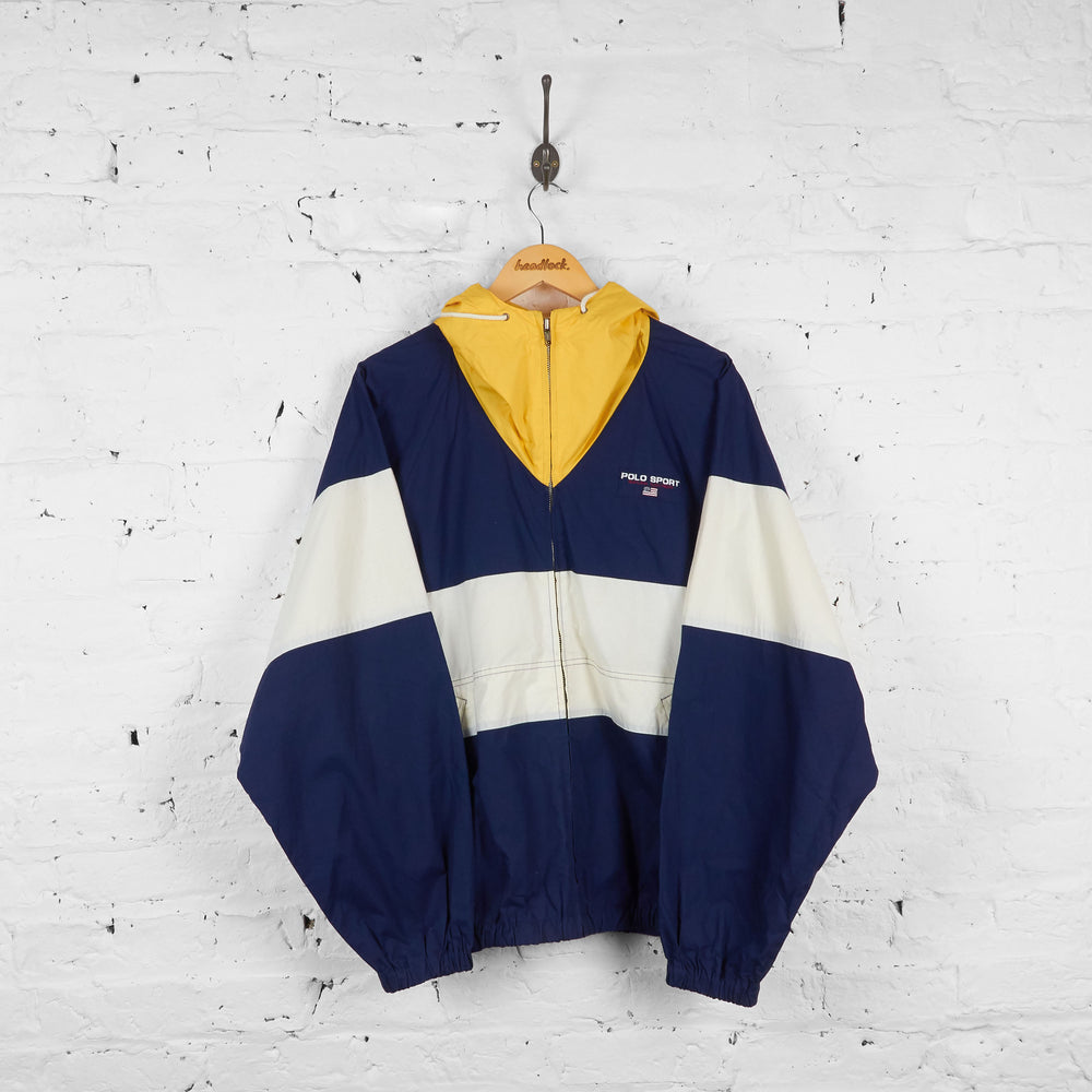 Vintage Ralph Lauren Polo Sport Zip Up Windbreaker Jacket - Navy/Yellow/White - XL