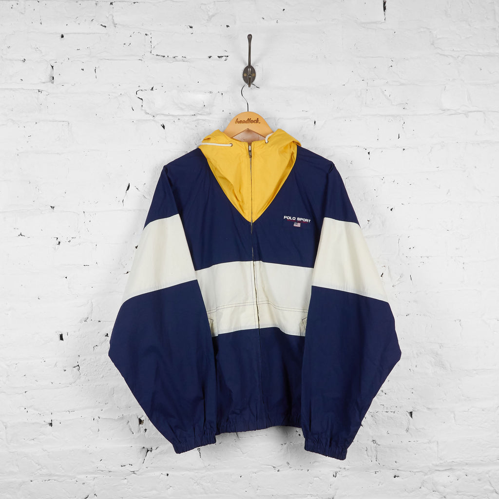 Vintage Ralph Lauren Polo Sport Zip Up Windbreaker Jacket - Navy/Yellow/White - XL - Headlock