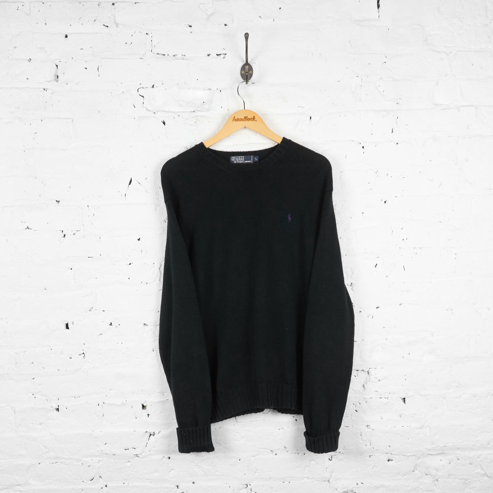 Vintage Ralph Lauren Polo Knit Jumper - Black - L