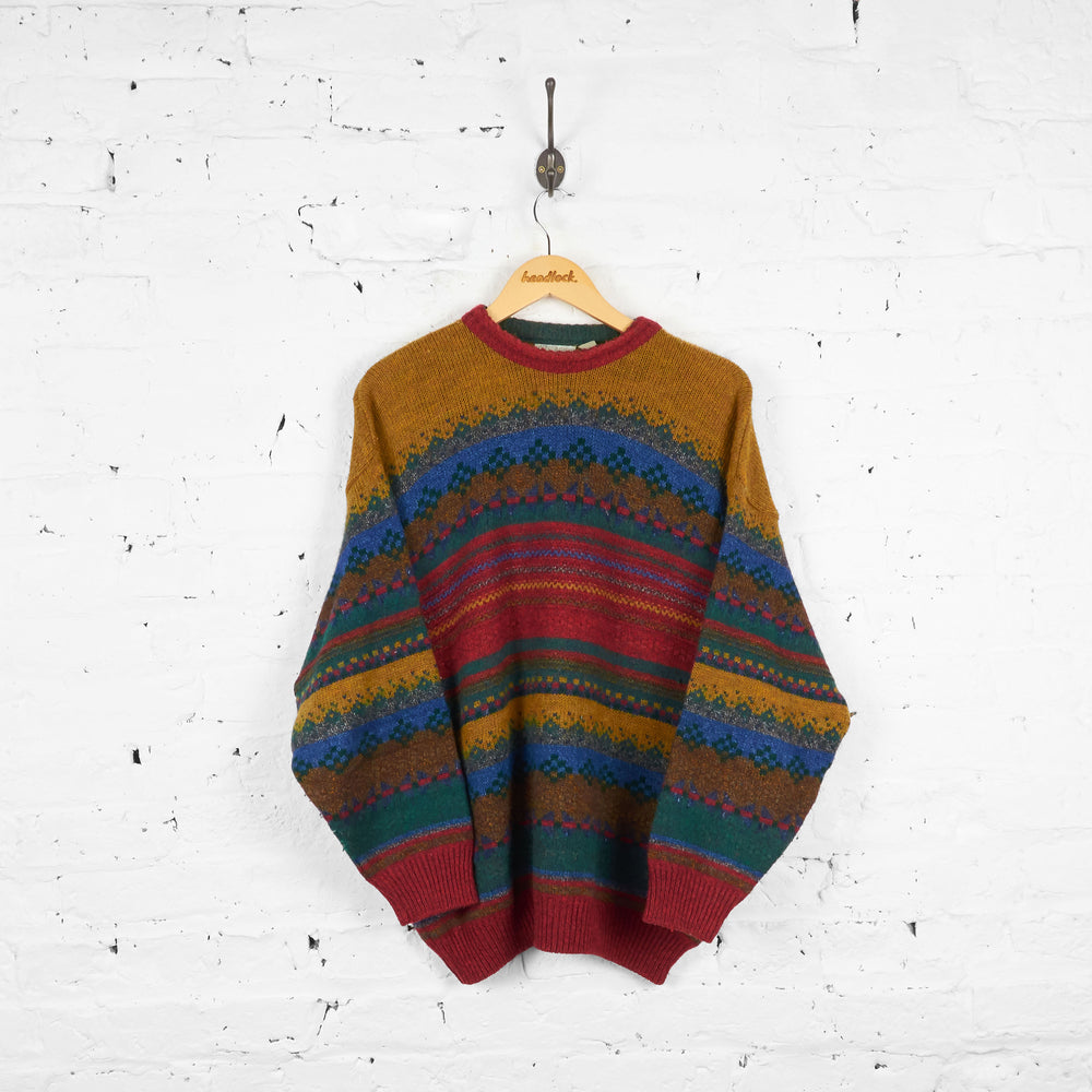 Vintage Patterned Wool Jumper - Green/Blue/Red - L
