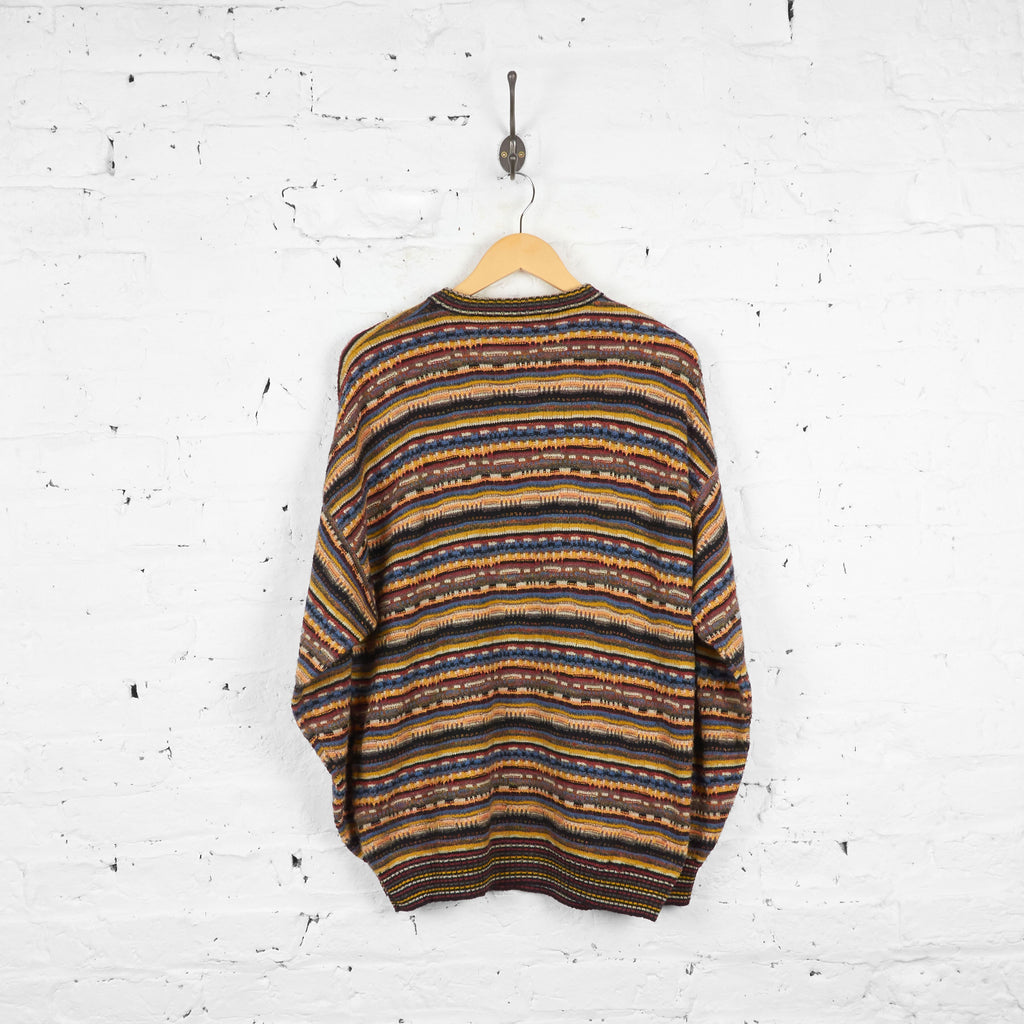 Vintage Missoni Sport Patterned Jumper - Brown/Cream/Blue/Black - XL