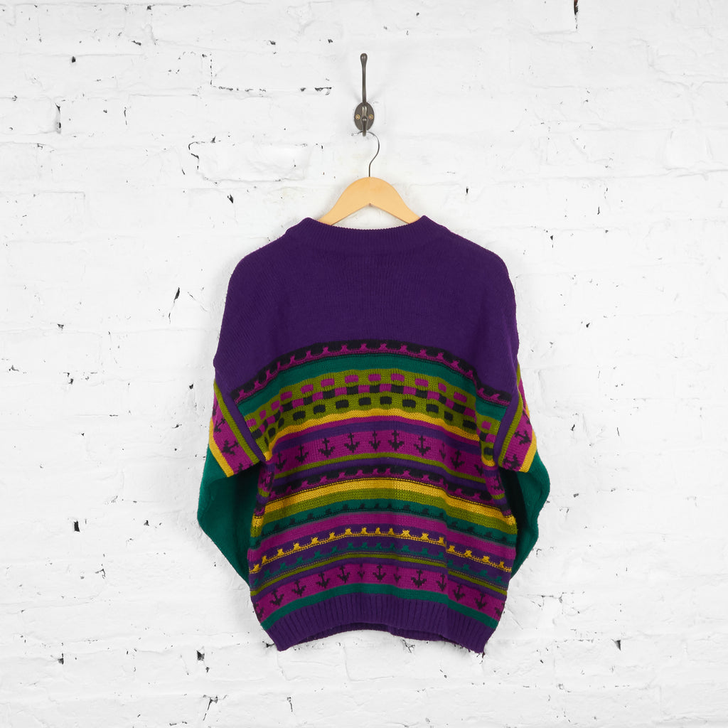 Vintage Patterned Turtle Neck Jumper - Purple/Green - S