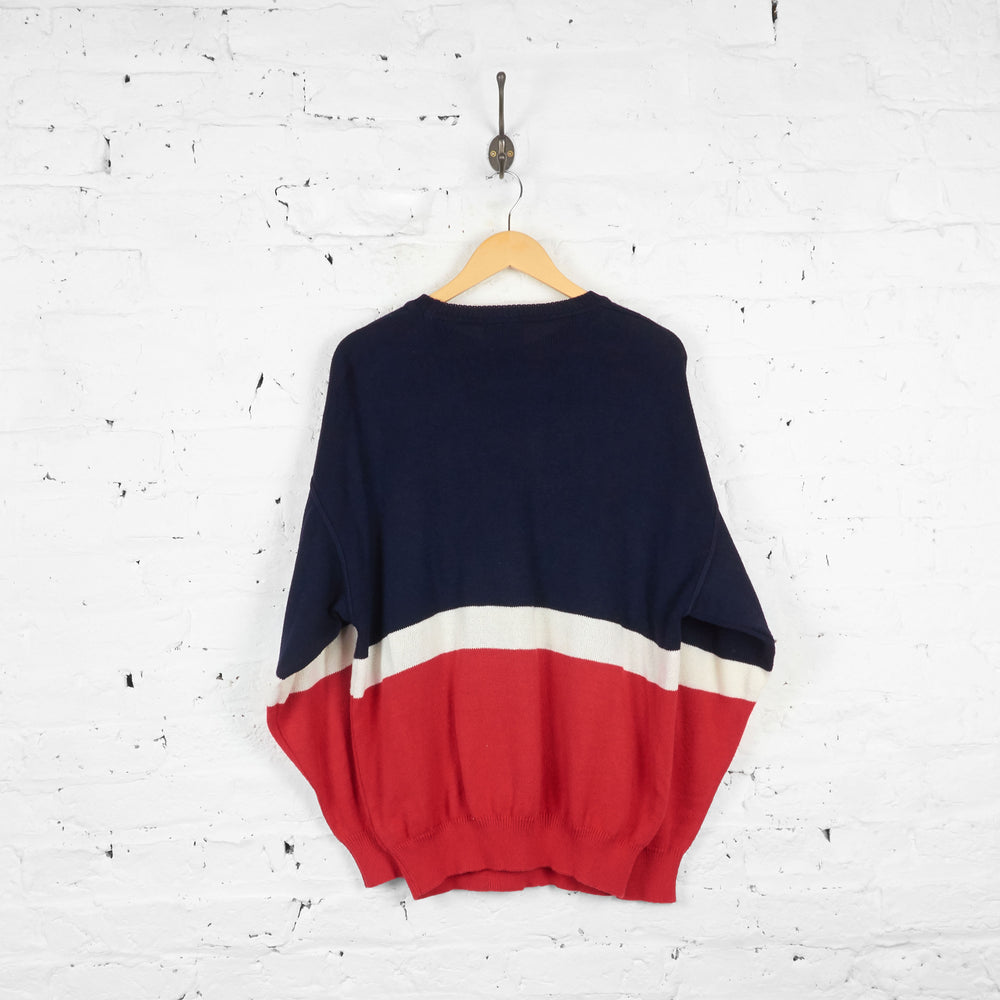 Vintage Monello Patterned Abstract Jumper - Navy/Red - L