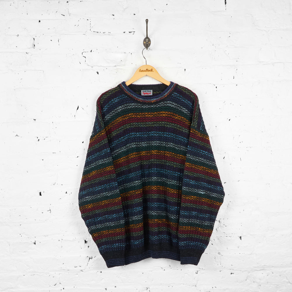 Vintage Multicolour Knit Patterned Jumper - Blue/Yellow/Red - L