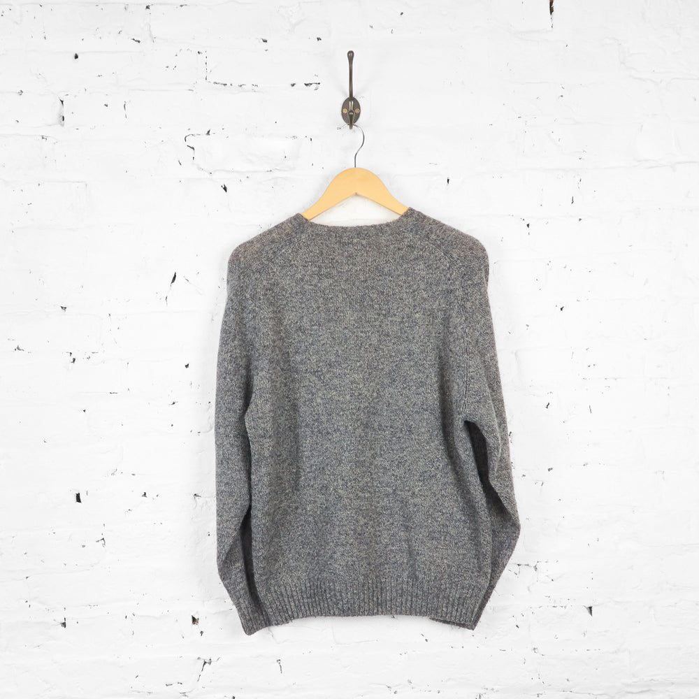 Vintage V Neck Wool Kappa Jumper - Grey - M