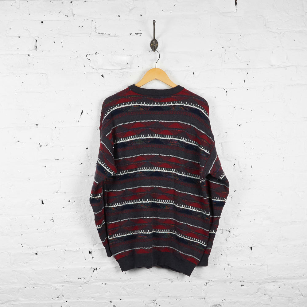Vintage Patterned Jumper - Grey/Red/Blue - L