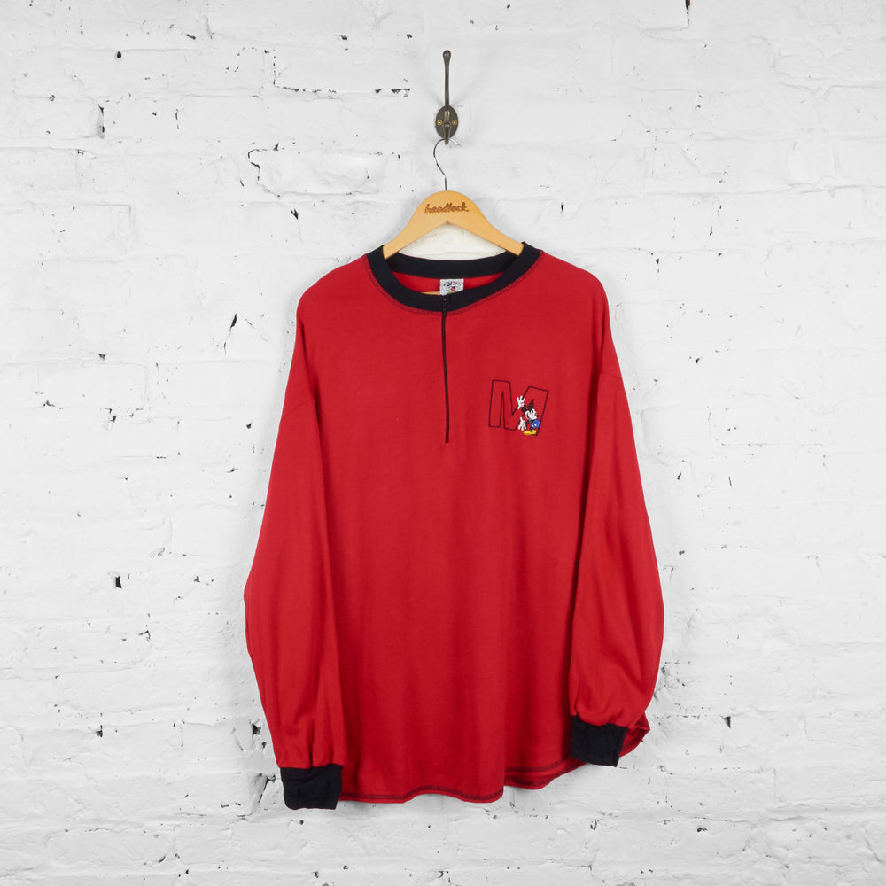 Vintage Mickey Mouse 1/4 Zip Up T-shirt - Red/Black - XL