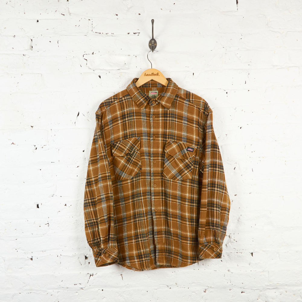 Vintage Flannel Dickies Shirt - Brown - L