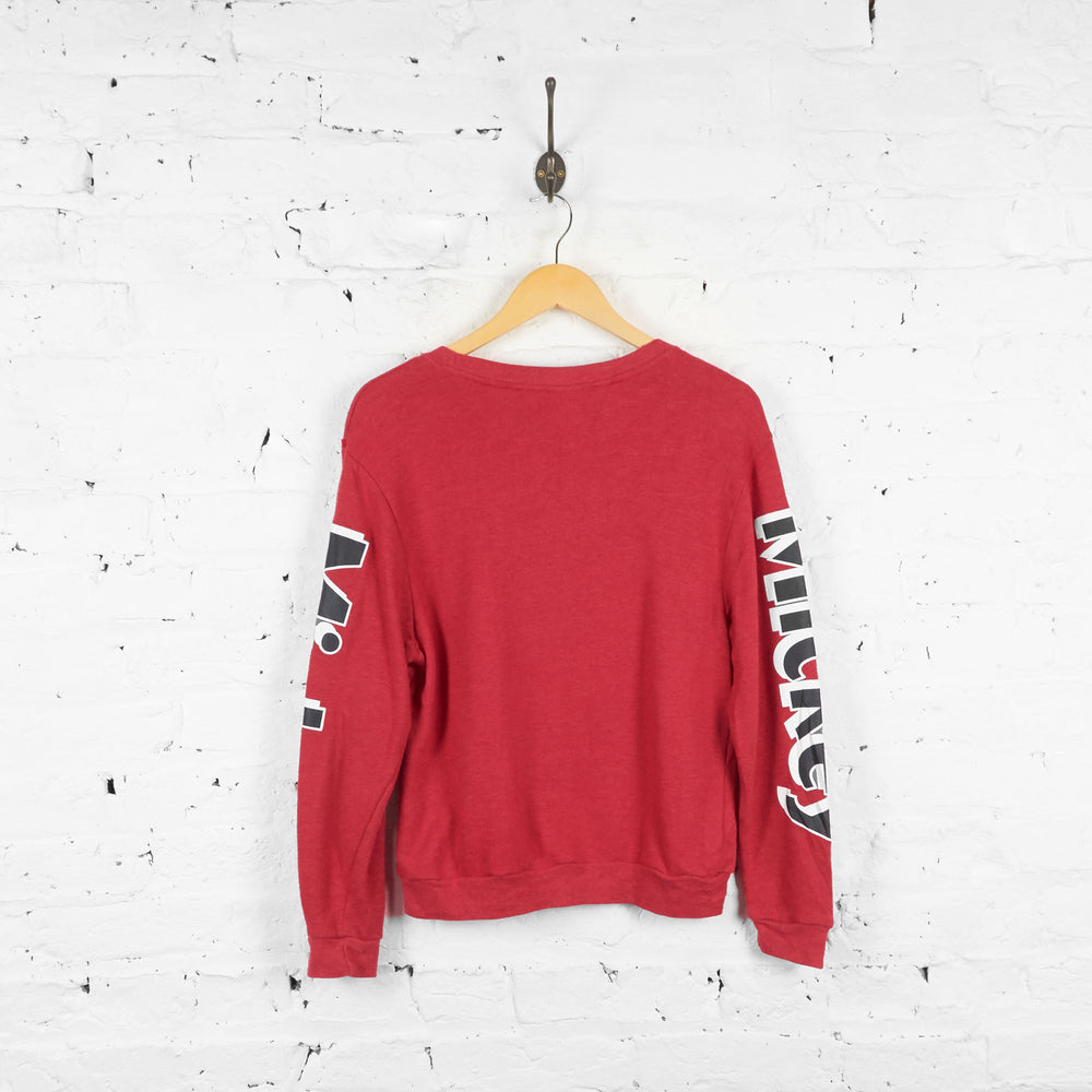 Vintage Mickey Mouse Sweatshirt - Red - XS