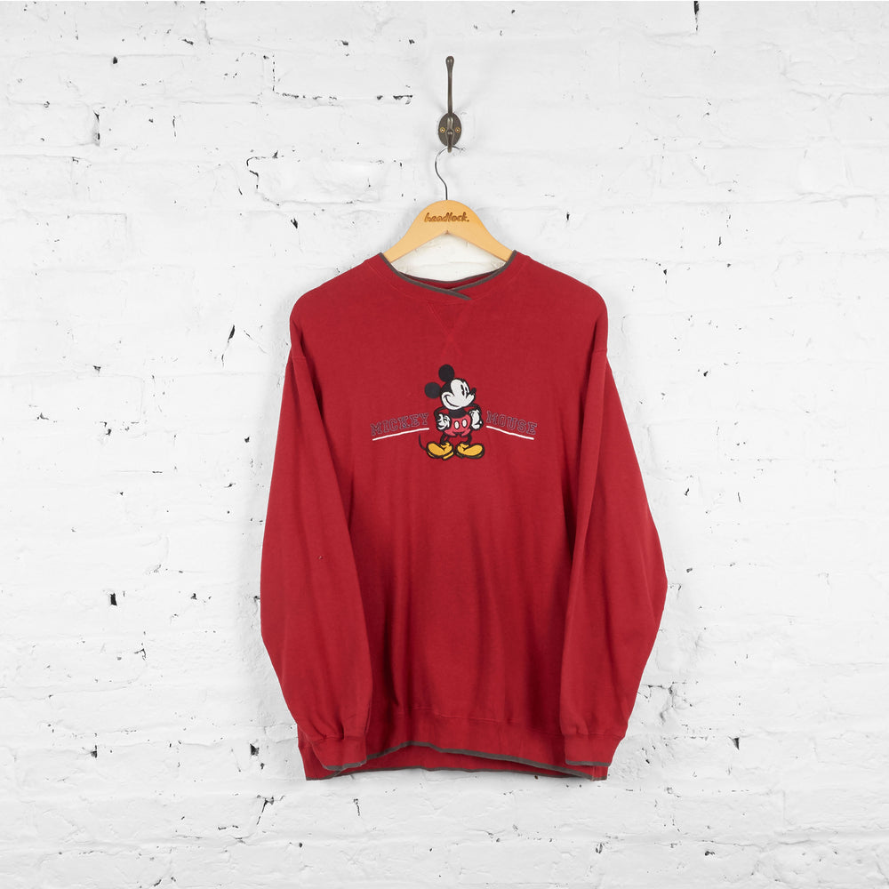 Vintage Mickey Mouse Sweatshirt - Red - M