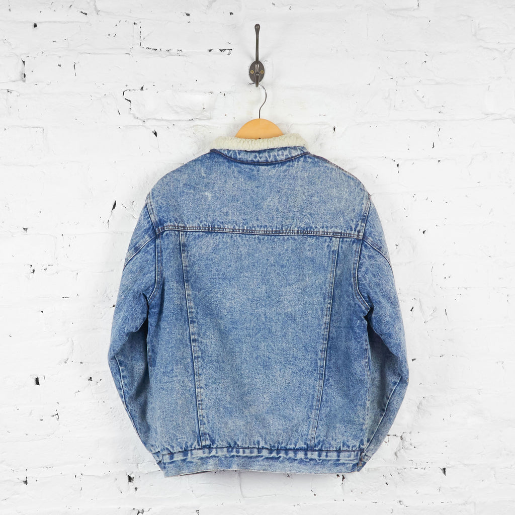 Acid Wash Shearling Denim Jacket - Blue - XL - Headlock