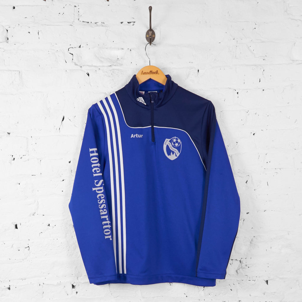 Adidas 1/4 Zip Tracksuit Top Jacket - Blue - S - Headlock