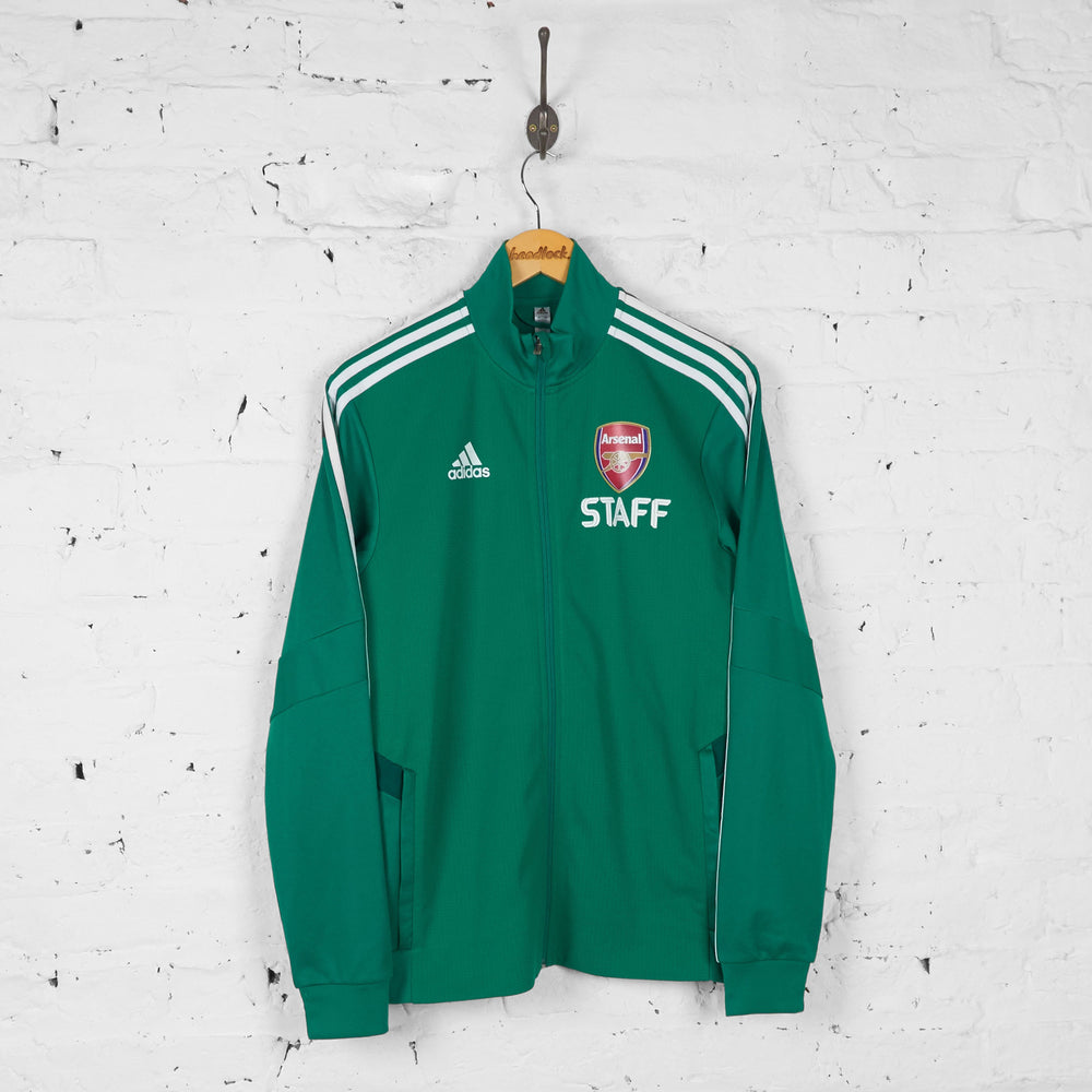 Adidas Arsenal Staff Tracksuit Top Jacket - Green - S - Headlock