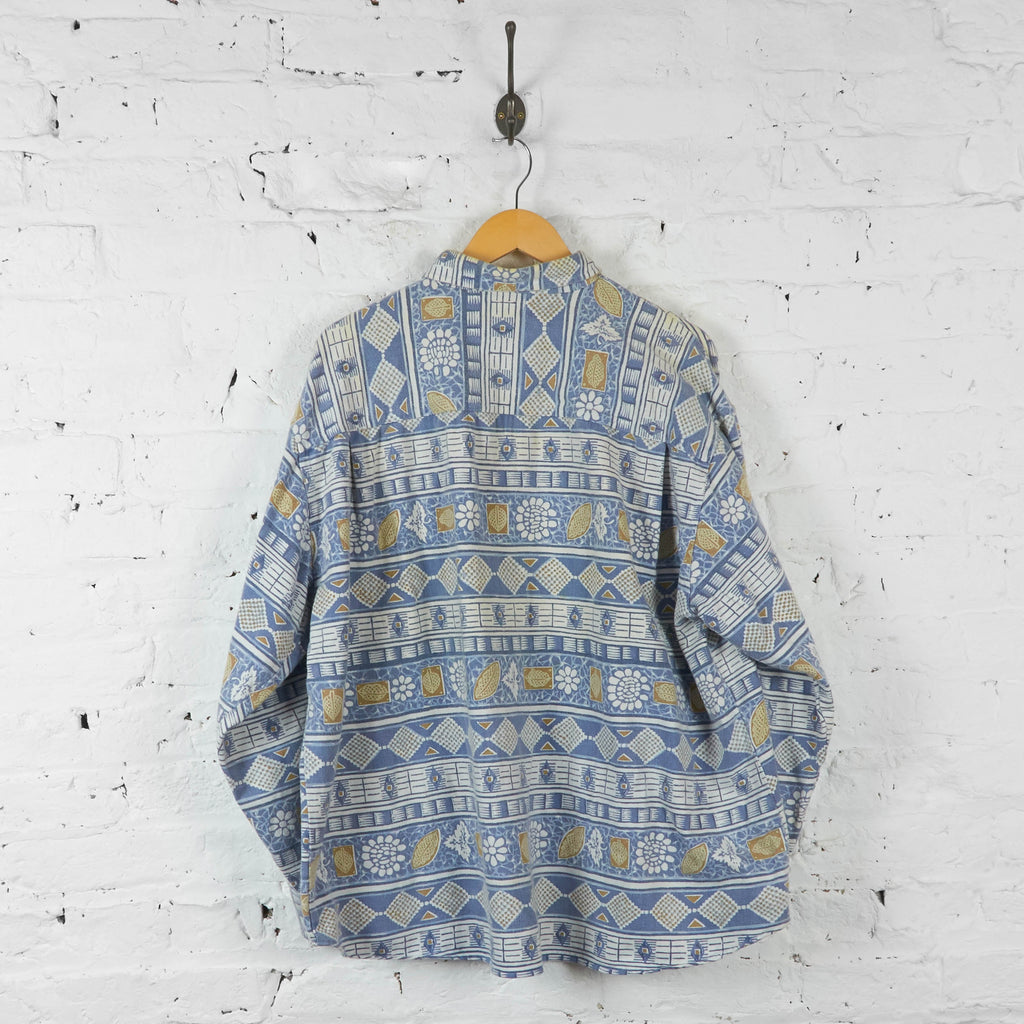 Aztec Patterned 90s Shirt - Blue - XL - Headlock