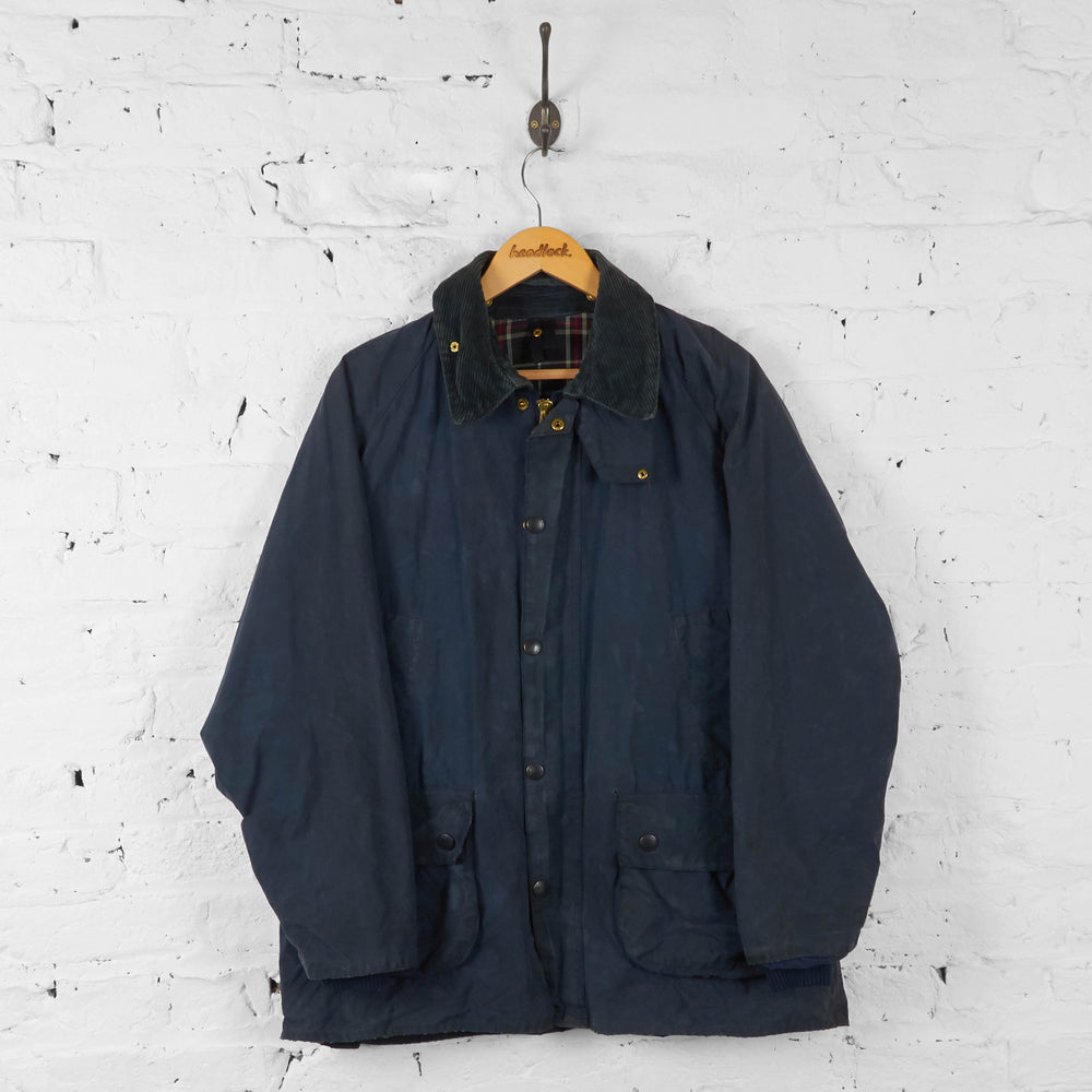 Barbour Bedale Wax Jacket Coat - Blue - M - Headlock