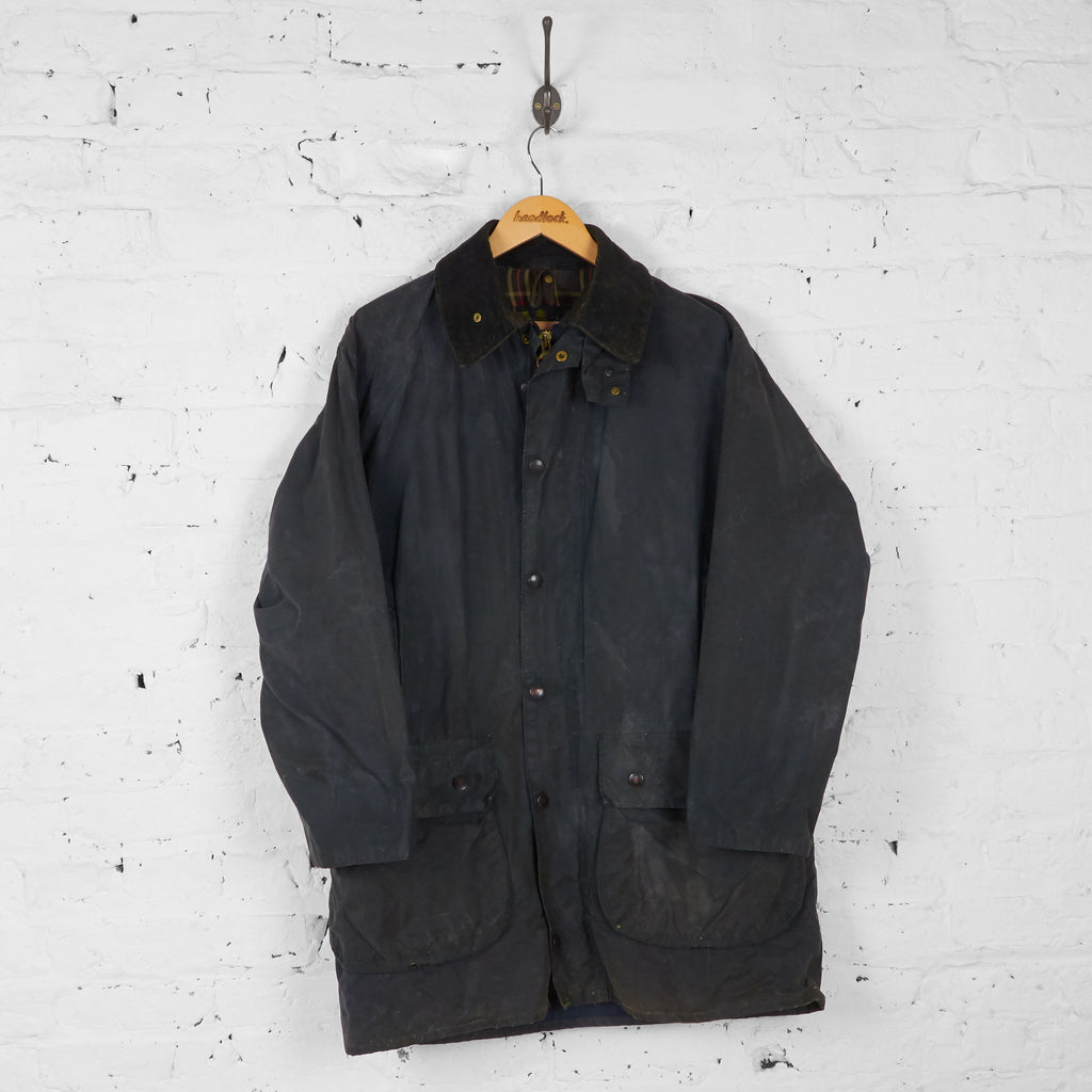 Barbour Border Wax Jacket Coat - Blue - M - Headlock