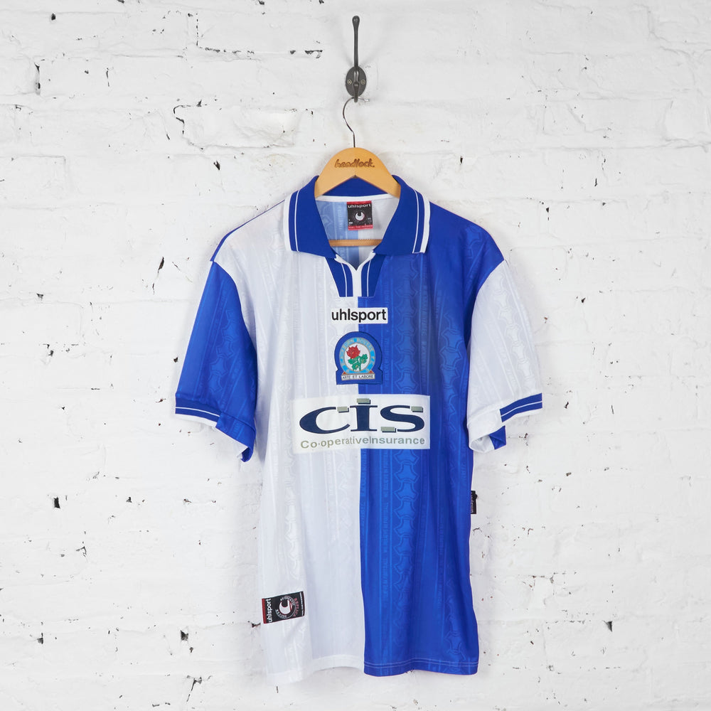 Blackburn Rovers 1998 Uhlsport Football Shirt - Blue - L - Headlock