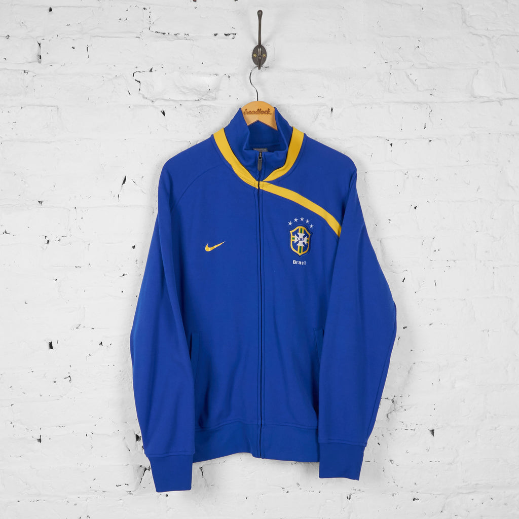 Brazil Nike Tracksuit Top Jacket -Blue - XL - Headlock