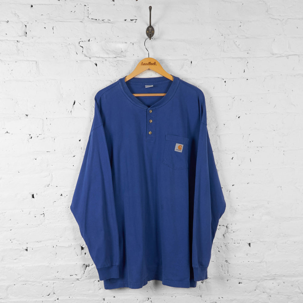 Carhartt Long Sleeve Pocket T Shirt - Blue - XXL - Headlock