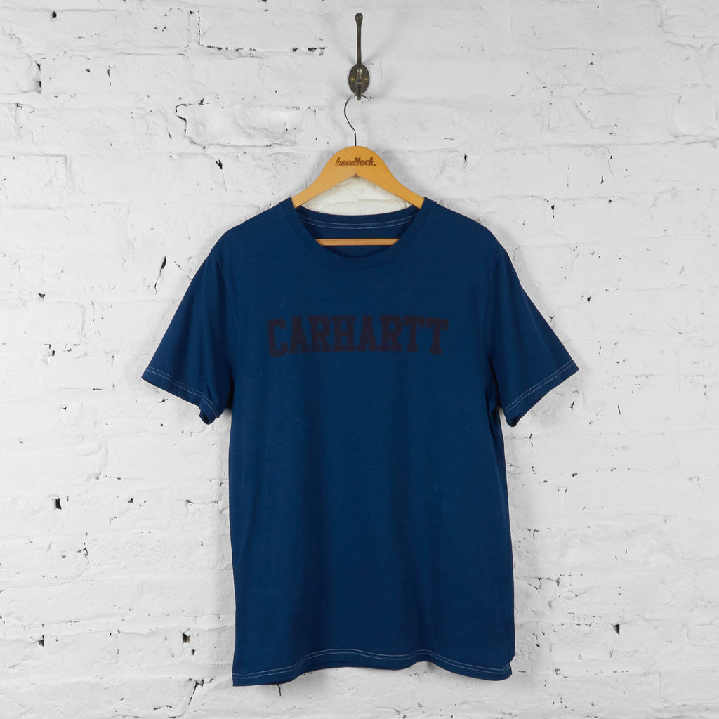 Carhartt Spell Out T Shirt - Blue - L - Headlock