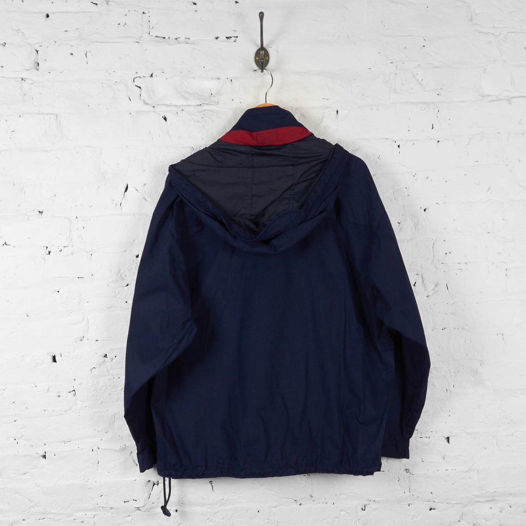Chaps Ralph Lauren 1/4 Zip Hooded Jacket - Blue - L - Headlock