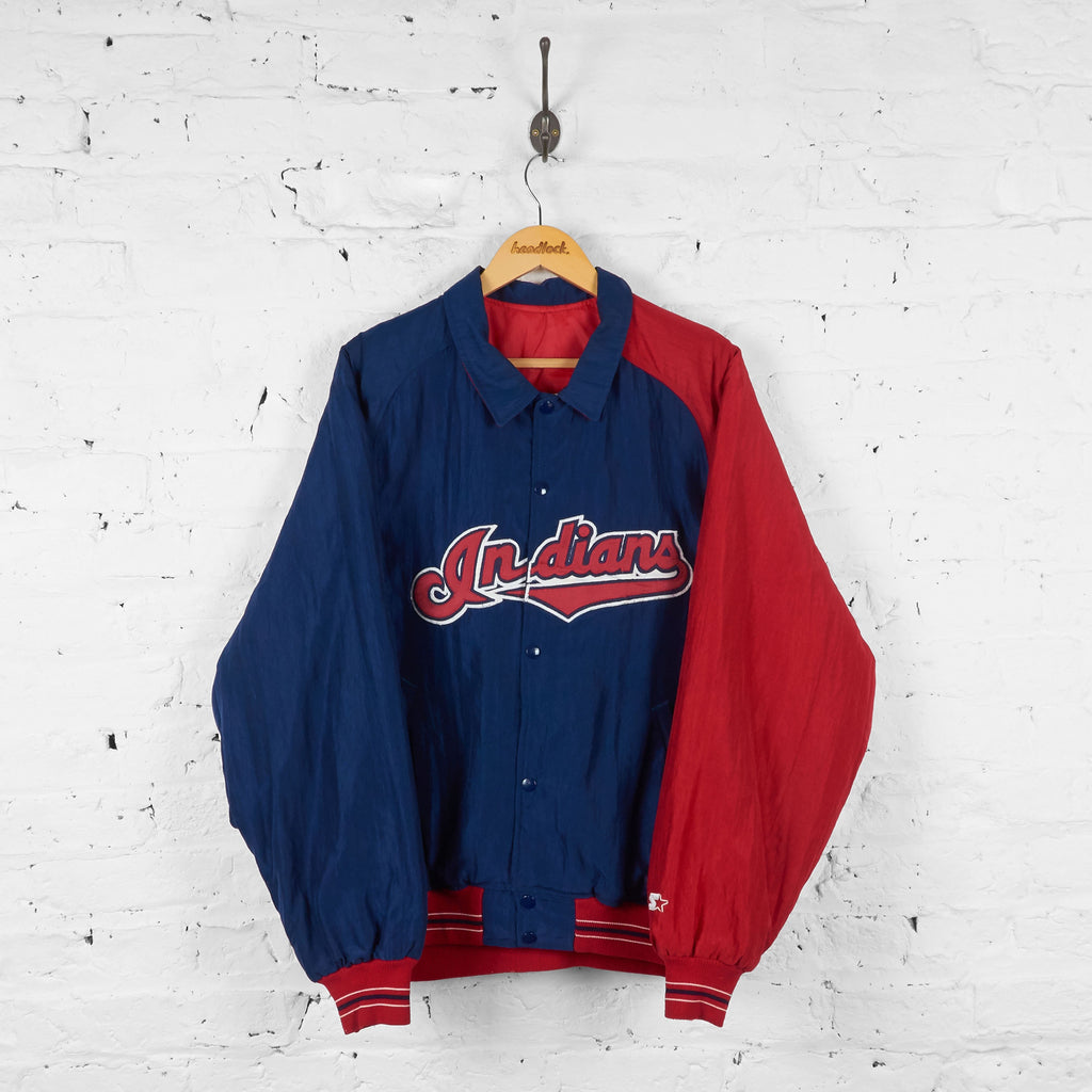 Cleveland Indians Baseball Coach Starter Jacket - Blue - L - Headlock