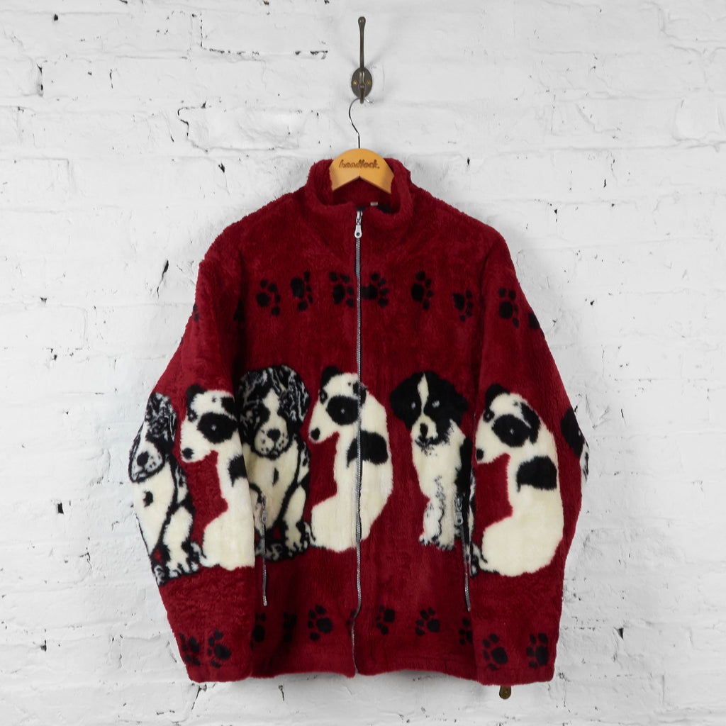 Dogs Patterned Fleece Jacket - Red - L - Headlock