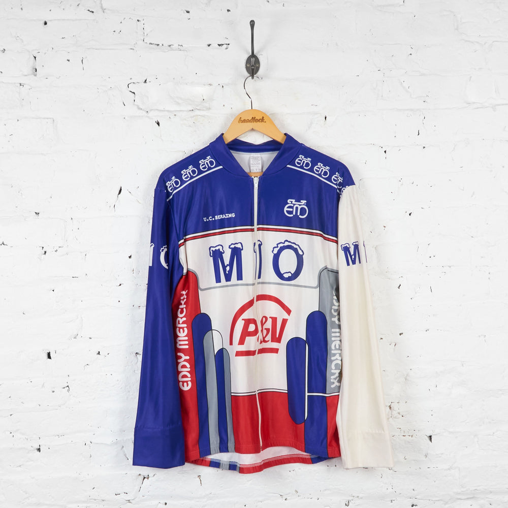 Eddy Merckx Mio Long Sleeve Cycling Jersey - White - XXL - Headlock