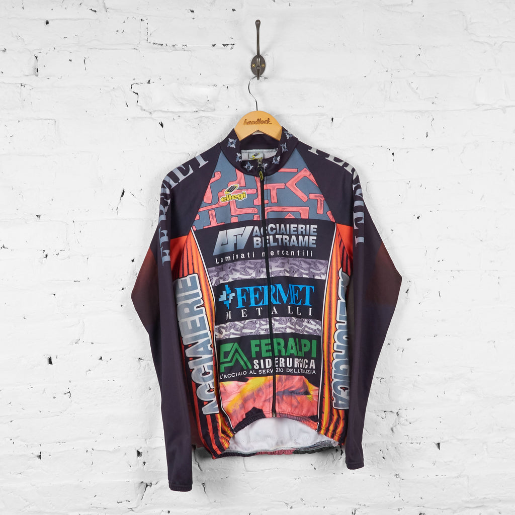 Ellegi Fermet Patterned Long Sleeve Cycling Jersey - Black/Orange - M - Headlock