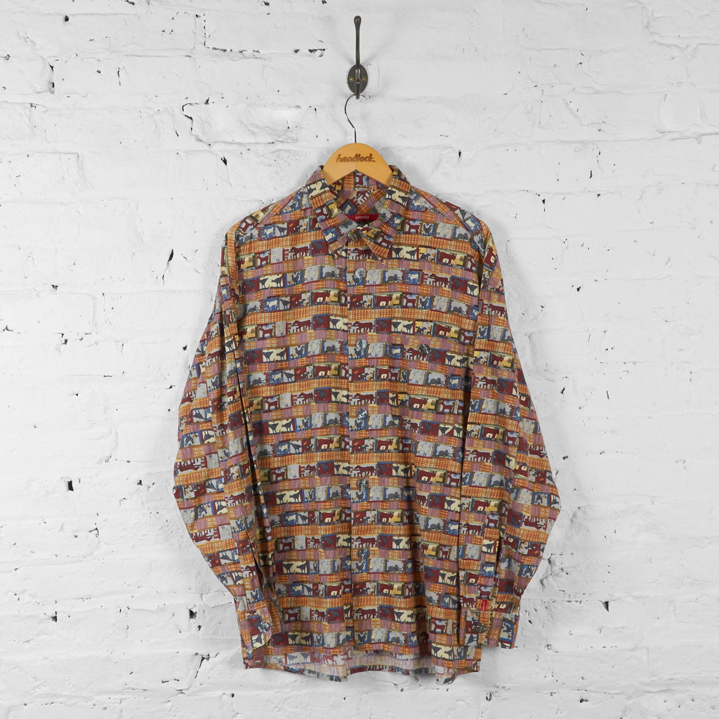 Farm Animals Patterned Shirt - Orange - L - Headlock